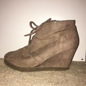 Shoes - Suede lace boots with a heel